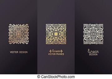 vector, conjunto, de, diseño lineal, elementos
