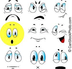 vector, conjunto, de, emociones