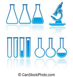 vector, conjunto, de, equipo del laboratorio, icons., ciencia, concepto