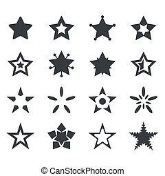 vector, conjunto, de, estrella, iconos