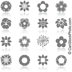 vector, conjunto, de, florecer, flores, con, sombra, -,...