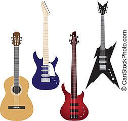 vector, conjunto, de, guitarras