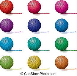 vector, conjunto, de, hilo, pelotas