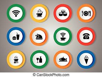 vector, conjunto, de, iconos, con, comida., vector, ilustración