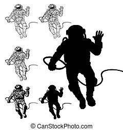 vector, conjunto, de, ilustraciones, cosmonautas