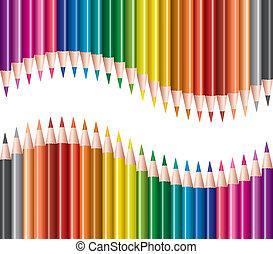 vector, conjunto, de, lápices de color