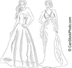 vector, conjunto, de, moda, cima, modelo, en, un, vestidos...