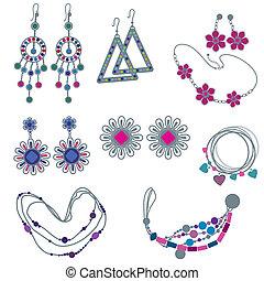 vector, conjunto, de, moda, joyas