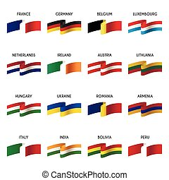 vector, conjunto, de, nacional, banderas