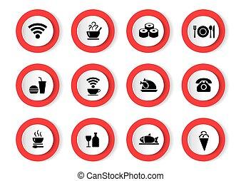 vector, conjunto, de, negro, iconos, con, alimento