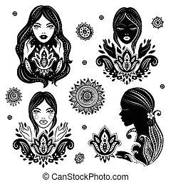 vector, conjunto, de, niñas hermosas, en, meditación, con, un, loto