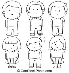 vector, conjunto, de, niños