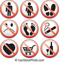 vector, conjunto, de, prohibición, señales