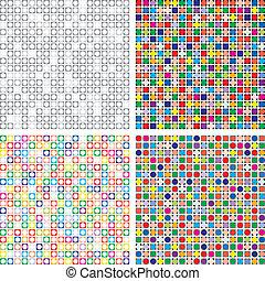 vector, conjunto, de, resumen, colorido, azulejo, fondos