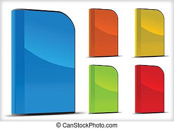 vector, conjunto, de, software, cajas