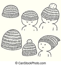 vector, conjunto, de, sombrero de las lanas