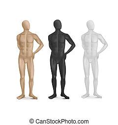 vector, conjunto, de, tres, macho, maniquíes