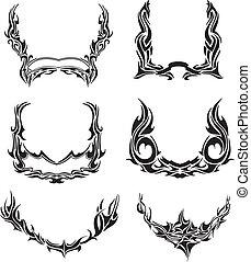 vector, conjunto, de, tribal, coronas