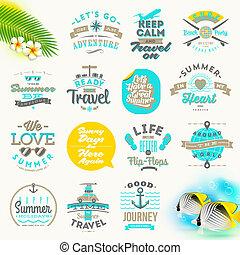vector, conjunto, de, vacaciones del verano, y, viaje, tipo, diseño