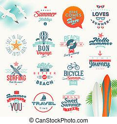 vector, conjunto, de, viaje, y, vacaciones del verano, tipo, diseño