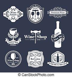 vector, conjunto, de, vino ventaja, logo., retro, vino, iconos, collection.