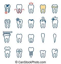 vector, conjunto, dentista, dientes, iconos
