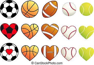 vector, conjunto, deporte, corazones, pelotas