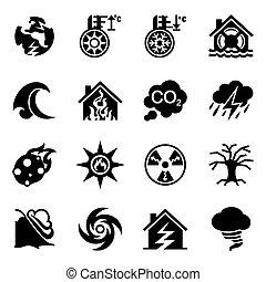 vector, conjunto, desastre, icono