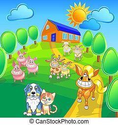 vector, conjunto, divertido, caricatura, cultive animales