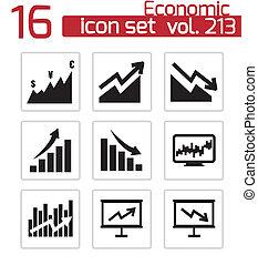 vector, conjunto, económico, negro, iconos