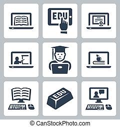 vector, conjunto, educación, en línea, iconos
