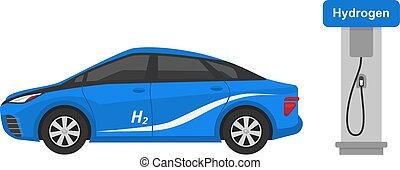 vector, conjunto, electricidad, electric-car, blanco,...