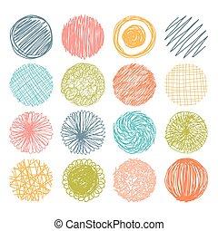 vector, conjunto, elements., mano, circles., diseño, ...