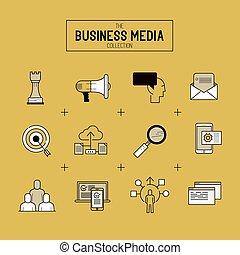 vector, conjunto, empresa / negocio, icono