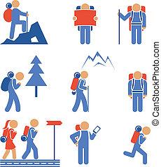 vector, conjunto, excursionismo, coloreado, iconos