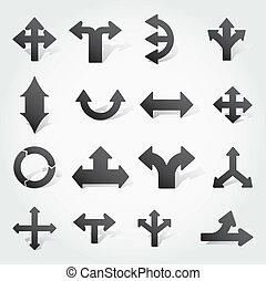 vector, conjunto, flechas