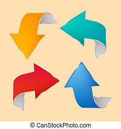 vector, conjunto, flechas, ilustración