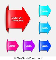 vector, conjunto, forma, flechas, papel, pegatinas