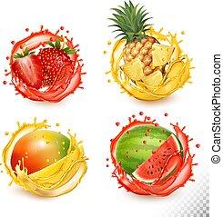 vector, conjunto, fresa, mango., jugo, fruta, splash., piña, sandía