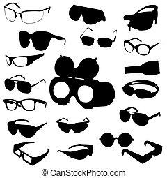 vector, conjunto, gafas de sol, anteojos