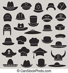vector, conjunto, gorra, sombrero