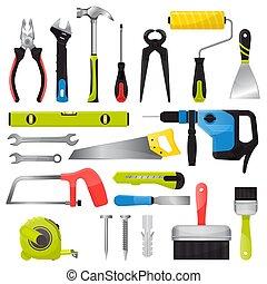 vector, conjunto, handtools, herramienta, blanco, aislado,...