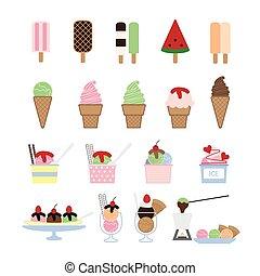 vector, conjunto, helado