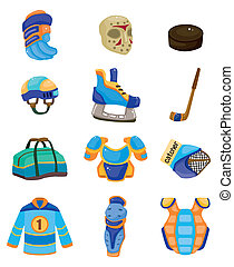 vector, conjunto, hockey, hielo, icono