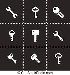 vector, conjunto, icono clave