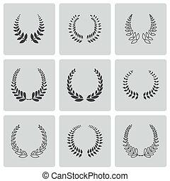 vector, conjunto, iconos, coronas, negro, laurel