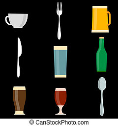 vector, conjunto, iconos, de, utensilio, objetos
