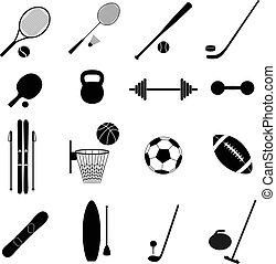 vector, conjunto, iconos, ilustración, deporte