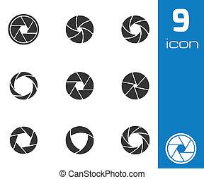 vector, conjunto, iconos, obturador, cámara, negro