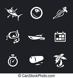 vector, conjunto, icons., spearfishing